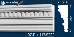 Esztergom 107-F+117 kérgesített homlokzat dekoráció, kültéri díszléc