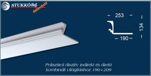 Polisztirol díszléc indirekt és direkt kombinált világításhoz Győr 190+209