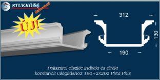 Budapest polisztirol díszléc LED rejtett világítás és spot lámpa kiépítéséhez 190+2x202 PLEXI PLUS