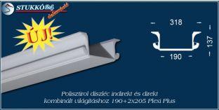 Debrecen polisztirol profil direkt és indirekt világítástechnika kiépítéséhez 190+2x205 PLEXI PLUS