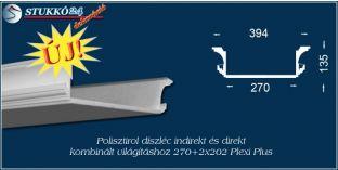 Budapest polisztirol stukkó profil spot izzó és LED szalag világítás kiépítéséhez 270+2x202 PLEXI PLUS