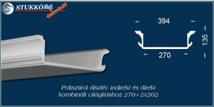 Budapest polisztirol stukkó profil spot izzó és LED szalag világítás kiépítéséhez 270+2x202