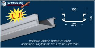 Debrecen polisztirol profil mennyezeti direkt és indirekt világítás kiépítéséhez 270+2x205 PLEXI PLUS