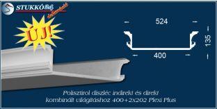 Direkt fény és rejtett világítás stukkó profil Budapest 400+2x202 PLEXI PLUS