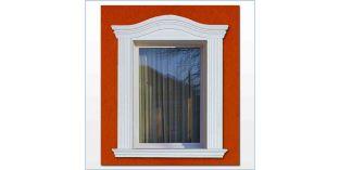 89. Kültéri stukkó dekorációs ötletek: ablak keretezés íves megoldással
