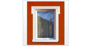 21. Kültéri stukkó dekorációs ötletek: ajtókeret, ablakkeret homlokzat stukkóval
