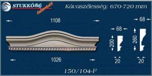 Kérgesített timpanon, ház dekoráció 150/104 F 670-720