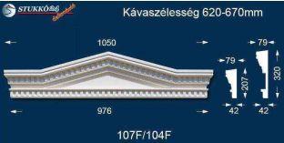 Kérgesített timpanon, ablak stukkó díszítőelem 107 F/104 F 620-670