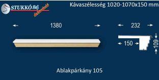 Kérgesített párkány, ablakstukkó, 105 1020-1070-150