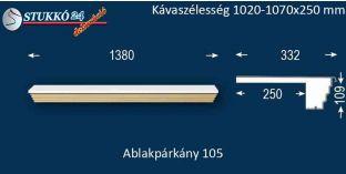 Kérgesített párkány, ablakstukkó, 105 1020-1070-250
