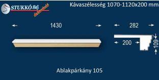Kérgesített párkány, ablakstukkó, 105 1070-1120-200