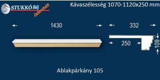 Kérgesített párkány, ablakstukkó, 105 1070-1120-250