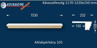 Kérgesített párkány, ablakstukkó, 105 1170-1220-150