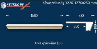 Kérgesített párkány, ablakstukkó, 105 1220-1270-250