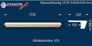 Kérgesített párkány, ablakstukkó, 105 1370-1420-150