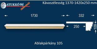 Kérgesített párkány, ablakstukkó, 105 1370-1420-250