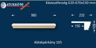 Kérgesített párkány, ablakstukkó, 105 620-670-150