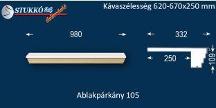 Kérgesített párkány, ablakstukkó, 105 620-670-250