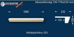 Kérgesített párkány, ablakstukkó, 105 720-770-150