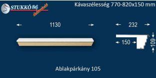 Kérgesített párkány, ablakstukkó, 105 770-820-150