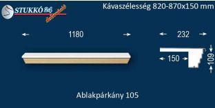 Kérgesített párkány, ablakstukkó, 105 820-870-150