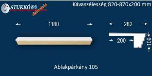 Kérgesített párkány, ablakstukkó, 105 820-870-200