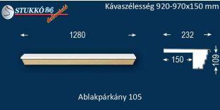 Kérgesített párkány, ablakstukkó, 105 920-970-150