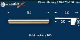 Kérgesített párkány, ablakstukkó, 105 920-970-250