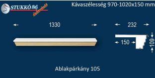 Kérgesített párkány, ablakstukkó, 105 970-1020-150