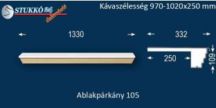 Kérgesített párkány, ablakstukkó, 105 970-1020-250