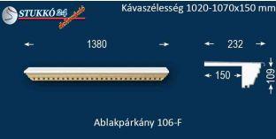 Ablakpárkány, polisztirol stukkó, 106F 1020-1070-150