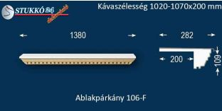 Ablakpárkány, polisztirol stukkó, 106F 1020-1070-200