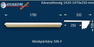 Ablakpárkány, polisztirol stukkó, 106F 1420-1470-250