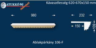 Ablakpárkány, polisztirol stukkó, 106F 620-670-150