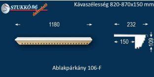 Ablakpárkány, polisztirol stukkó, 106F 820-870-150