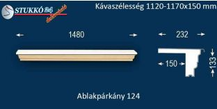 Komplett alumínium ablakpárkány 124 1120-1170-150