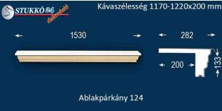 Komplett alumínium ablakpárkány 124 1170-1220-200
