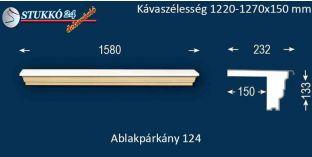 Komplett alumínium ablakpárkány 124 1220-1270-150