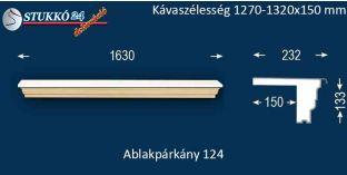 Komplett alumínium ablakpárkány 124 1270-1320-150