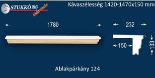 Komplett alumínium ablakpárkány 124 1420-1470-150