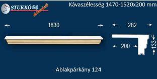 Komplett alumínium ablakpárkány 124 1470-1520-200