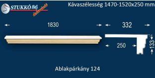 Komplett alumínium ablakpárkány 124 1470-1520-250