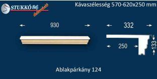 Komplett alumínium ablakpárkány 124 570-620-250