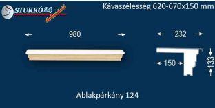 Komplett alumínium ablakpárkány 124 620-670-150