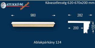 Komplett alumínium ablakpárkány 124 620-670-200