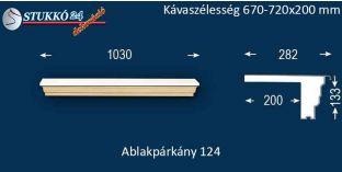 Komplett alumínium ablakpárkány 124 670-720-200