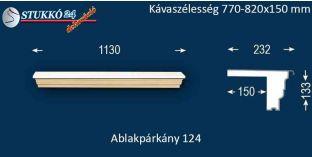 Komplett alumínium ablakpárkány 124 770-820-150