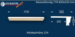 Komplett alumínium ablakpárkány 124 770-820-250