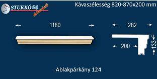 Komplett alumínium ablakpárkány 124 820-870-200