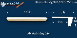 Komplett alumínium ablakpárkány 124 970-1020-250